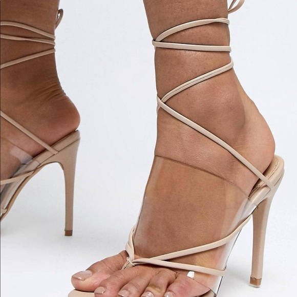 4e810cc9bfa06 Missguided clear heel sandals. M 5c798afeaa87704bfb202b70